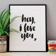 Hey, I Love You x http://www.amazon.com/dp/B01BFMKRBI motivationmonday print inspirational black white poster motivational quote inspiring gratitude word art bedroom beauty happiness success motivate inspire