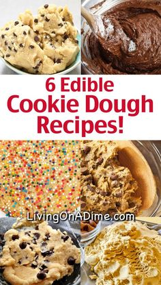 Here are 6 edible cookie dough recipes that are safe to eat because they are eggless cookie dough recipes! Whether you prefer chocolate chip cookie dough, peanut butter, Nutella or something else, you& sure to love these cookie dough recipes! Edible Sugar Cookie Dough, Cookie Dough For One, Edible Cookies, Cookie Dough Recipes, Chocolate Chip Cookie Dough, Cookie Dough Dip, Edible Cookie Dough Recipe For One, Monster Cookie Dough, Healthy Cookie Dough