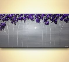 Contemporary Blooming tree Painting Purple Gray by OsnatFineArt