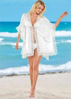 03b07acf28427 Women's Crochet Trim Kimono Cover-Ups - White, Size L/XL by Venus