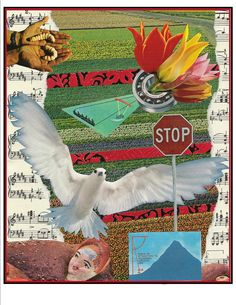 collage, magazines, children's textbooks and sheet music, 2004