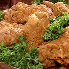 A Southern Fried Chicken-didn't use buttermilk, just a splash of barbeque, cook lower temp (300) 15 minutes.