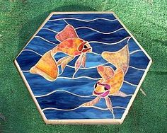 A Glass Menagerie -Stained Glass Mosaic Lily Pond Stepping Stones Slumped Glass, Fused Glass, Stained Glass, Mosaic Garden, Garden Art, Garden Ideas, Mosaic Stepping Stones, Lily Pond, Mosaic Crafts