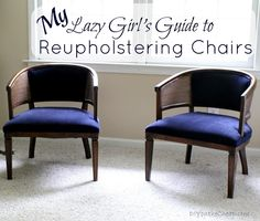 Lazy Girls Guide to Reupholstering Chairs {Tutorial} via DIYontheCheap.com
