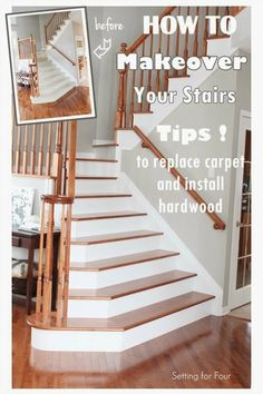 How to get rid of that ugly carpeting on your stairs once and for all! See the amazing results - stair upgrade and makeover before and after!