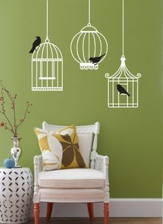 For the twins' room.  Vinyl Wall Sticker Decal Art  Birdcages by urbanwalls on Etsy, $35.00