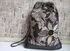 LARGE DRAWSTRING BACKPACK Upcycled Bag  by WhimsyEyeDesigns, $65.00