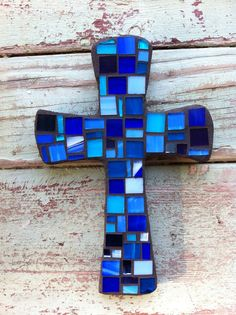 Mosaic Cross  Small Blue by DeniseMosaics on Etsy