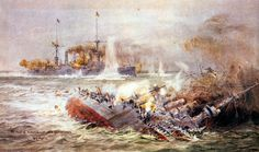 SMS Scharnhorst sinking at the Battle of the Falkland Islands 8th December 1914 picture by Lionel Wyllie http://www.britishbattles.com/battle-of-the-falkland-islands/