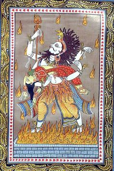 Shiva's marriage to Uma, or Sati, ends when she enters the fire and dies; he is desolate, and returns to his ascetic ways; a modern pata chitra Indian Traditional Paintings, Indian Art Paintings, Traditional Art, Indian Elephant Art, Tantra Art, Kalamkari Painting, Hindu Statues, Spiritual Paintings, Pagan Gods