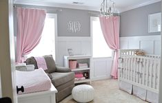 Lovely And Sweet Grey And White Decor Baby Nursery Room With Pink Curtains And White Crib And Shelving Plus Grey Couch: Adorable Vintage Baby Nursery Room Ideas for Inspiration