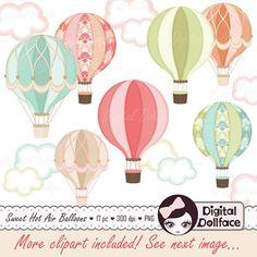 Imágenes Prediseñadas de globo de aire caliente digital, aire caliente globo fiesta imprimible, Clip Art, imagen gráfica