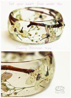 Cherry Blossom Bangle. Chunky Resin Bangle. by LostForestJewellery