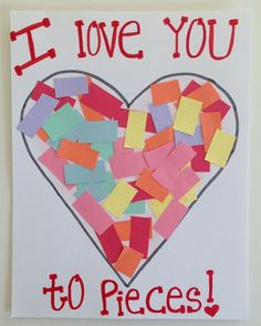 easy valentine's day craft | I love you to pieces card