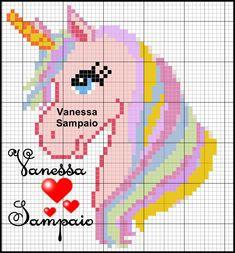 Pastel unicorn w flowing mane Unicorn Cross Stitch Pattern, Unicorn Pattern, Knitting Charts, Baby Knitting Patterns, Loom Patterns, Beading Patterns, Cross Stitch Charts, Cross Stitch Patterns, Cross Stitching