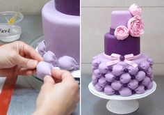 How To Make A Beautiful Ruffle Cake - Como Hacer Un Pastel Con Volantes… Cake Decorating Techniques, Cake Decorating Tutorials, Cookie Decorating, Pretty Cakes, Beautiful Cakes, Amazing Cakes, Decors Pate A Sucre, Rodjendanske Torte, Pillow Cakes