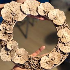 After biscuit kilnBefore glazingGetting ready to be glazed with oxidization Flowery frame ☘️ #ceramic #ceramics #pottery #clay #ceramicframe #ceramicframedmirror #leafprint #ceramicart #ceramicist #ceramiclovers #ceramiclove #maker #slabmethod #handmade #handmadeceramics #ceramica #ceramique #seramik #seramikçerçeve #seramikaynaçerçevesi #seramiksanatı #seramikaşkı #ceramicartworks