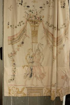 AMAZING Neoclassical printed antique French curtain ~ LOVELY ~ www.textiletrunk.com