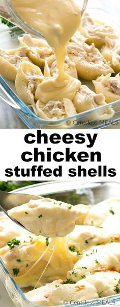 This recipe for Cheesey Chicken Stuffed Shells tastes so much like macaroni and cheese with chicken, you will love it! This recipe for Cheesey Chicken Stuffed Shells tastes so much like macaroni and cheese with chicken, you will love it! Chicken Stuffed Shells, Stuffed Shells Recipe, Stuffed Pasta Recipes, Italian Stuffed Shells, Cheese Stuffed Shells, Shells And Cheese, Jumbo Shells Stuffed, Healthy Stuffed Shells, Baked Pasta Recipes