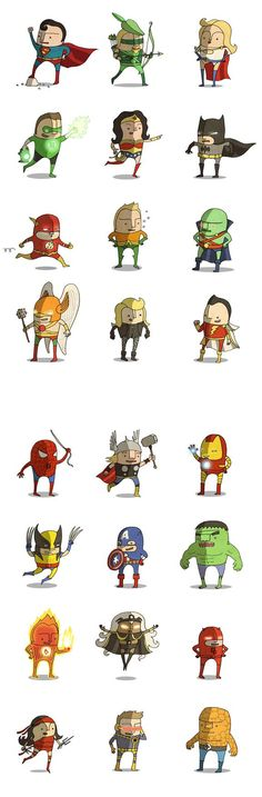 Graciosas mini caricaturas de superhéroes de Marvel y DC Comics