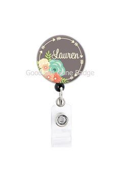 Retractable ID Badge Holder - Personalized Name - Flowers and Arrows - Choice of Colors - Badge Reel / Nurse Gift / Teacher Gift / ID Tag Id Badge Holders, Badge Reel, Nurse Gifts, Teacher Gifts, Retractable Id Badge Holder, Name Badges, Buttonholes, Just In Case, Cleaning Wipes