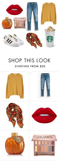 """""""Fall Coffee Run Casual"""" by taylor-1097 on Polyvore featuring MANGO, White House Black Market, LA77, Lime Crime, Urban Decay and adidas Originals"""