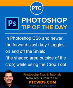 In Photoshop and newer, the forward slash key / toggles on and off the Shield (the shaded area outside of the crop) while using the Crop Tool. Adobe Photoshop, Learn Photoshop, Photoshop Photos, Photoshop Tutorial, Photoshop Ideas, Photoshop Elements, Photoshop Actions, Photography Software, Photoshop Photography