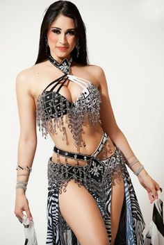 Sexy Black and White belly dance costume