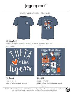 JCG Apparel : Custom Printed Apparel : Kappa Alpha Theta Football T-Shirt #kat…