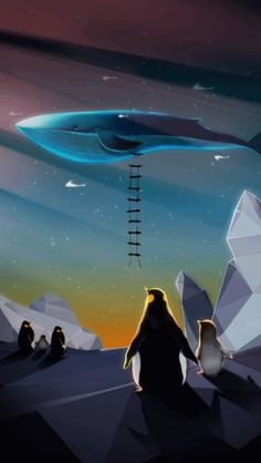 """Samsung Galaxy Theme """"Flying Whale""""  Whale, Penguin illust"""