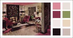 1943 Living Room Color Scheme - WWII Era - Mid Century Modern - Armstrong Linoleum Ad - Vintage Color