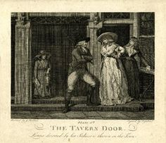 The tavern door; Laetitia deserted by her seducer is thrown on the town Plate 5: street scene with a young woman stepping out of a tavern at right, arm in arm with a woman who smiles knowingly at her friend's pained reply to a young man who addresses her, leaning casually against the door-post, arms crossed; a young street trader watches from behind, carrying a punnet and ballad sheet; copy of a print by J.R. Smith after Morland  Engraving and etching