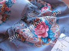 "Virgin Natural Woolen Pavlovsky Posad Shawl 89cm/35"" Russian kerchief scarf wrap #PavlovoPosad #Scarf"