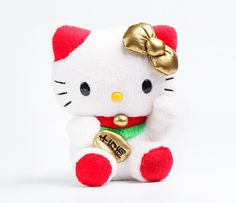 Hello Kitty Mascot Plush: White Lucky Cat