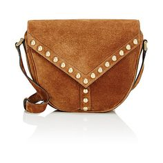 Saint Laurent Women's Y-Studded Shoulder Bag (€565) ❤ liked on Polyvore featuring bags, handbags, shoulder bags, studded purse, suede handbags, brown handbags, yves saint laurent handbags and suede purse