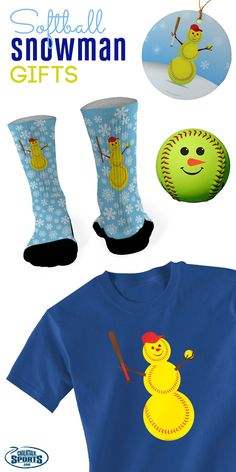 Looking for the best softball Christmas gifts?  Check out our softball snowman products for the important softball player in your life!  Our snowman softball, snowman socks, snowman ornament and more would make great gifts for any softball girl or softball fan this Christmas!  Only from chalktalksports.com!