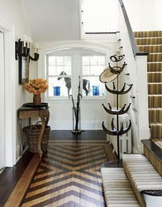 give the look of in-laid floors with paint/stain