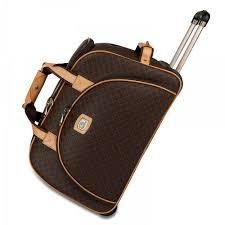 36515b5a32 Kattee Luggage Rolling Duffel Bag Leather Trim Canvas Wheeled Travel ...