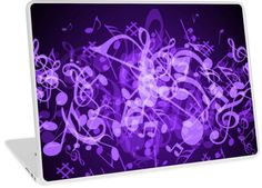 Purple Glow Music Notes | Design available for PC Laptop, MacBook Air, MacBook Pro, & MacBook Retina.