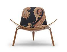 Shell Chair by Hans J. Wegner Massive Paisley fabric by Maharam Design Studio
