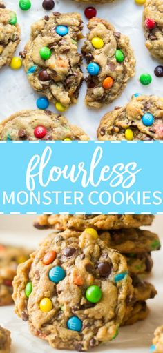 Thick and chewy these flourless monster cookies are so easy to make. They require only one bowl and are filled with your favorite monster cookie ingredients. Gluten free options are super easy to add and the flavor is out of this world. - April 13 2019 at Flourless Desserts, Köstliche Desserts, Healthy Desserts, Delicious Desserts, Flourless Chocolate, Healthy Meals, Irish Desserts, Healthy Eating, Healthy Appetizers