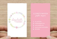 Wreath Business Card, Calling Card, Printable Custom Digital Download DIY, Flower Floral Design, Double sided