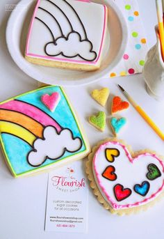 COOKIES | Rainbow Unicorn Birthday Party :: Paint-by-Party Sugar Cookies