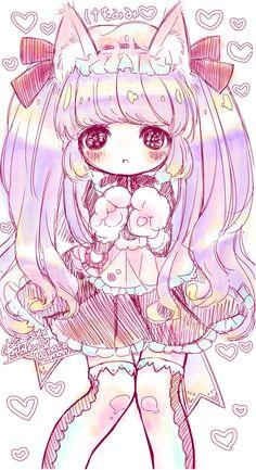 Anime chibi neko girl looks very small and childish~ It's cute
