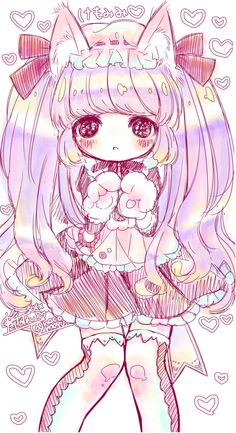 Anime chibi neko girl looks very small and childish~ It's cute