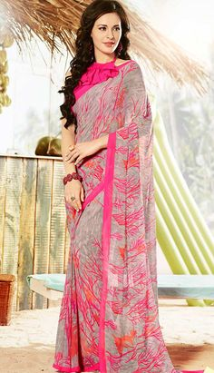 Get Fashionable Latest Grey Georgette #PrintedSaree Online with Great Colleciton.  #Price INR- 1522 Link- http://alturl.com/oj7bq