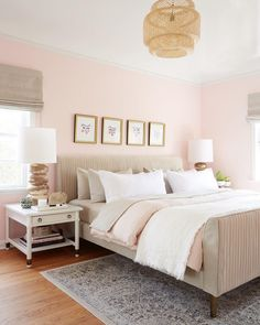 52 Trendy bedroom ideas for women boho interior design Pink And Beige Bedroom, Light Pink Bedrooms, Pink Bedroom Decor, Pink Bedroom For Girls, Small Room Bedroom, Bedroom Colors, Small Rooms, Bed Room, Trendy Bedroom