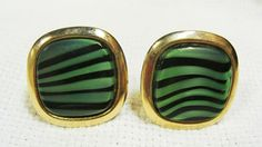 Green Black Swirled Cuff Links  Gold Tone  Glass by EtagereLLC