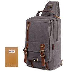 66b7f4770d2 KAUKKO Canvas Messenger Sling Bags Travel Rucksack Cross Body Shoulder  Backpack Blue