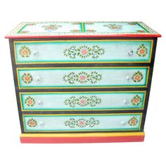 Vase Design Painted Chest Of Drawers